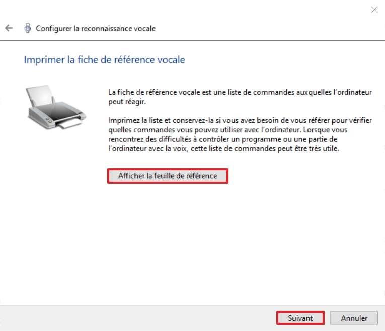 Prenez connaissance de la feuille de référence contenant les commandes que vous pourrez utiliser. © Microsoft