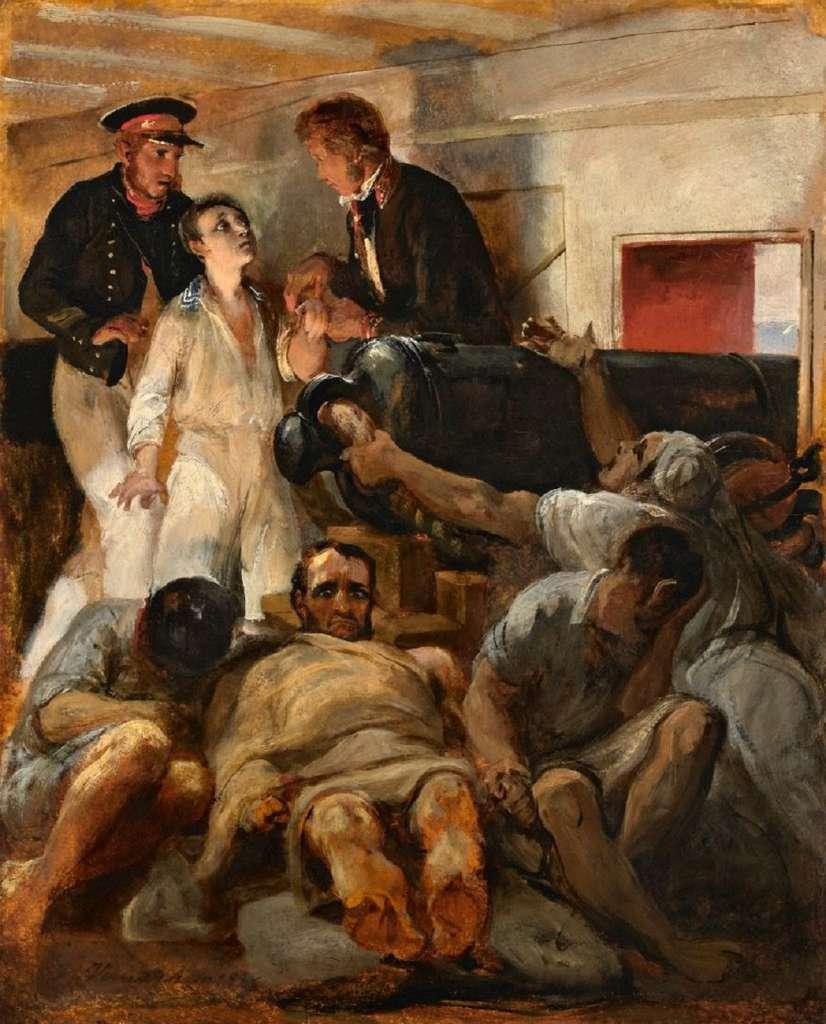 """""""Etude pour le choléra morbus à bord de la Melpomène"""" (frégate ancrée à Toulon en juillet 1833), par Horace Vernet en 1833. Musée des Beaux-Arts de Marseille. © RMN - Grand Palais."""