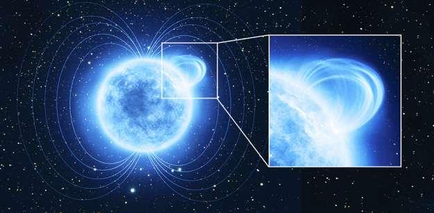 XMM-Newton a mesuré le champ magnétique d'une petite région de l'étoile à neutrons SGR 0418 + 5729, dont le champ magnétique est si intense qu'il est classé comme un « magnétar ». Ici une vue d'artiste de SGR 0418 + 5729. © ESA, ATG medialab
