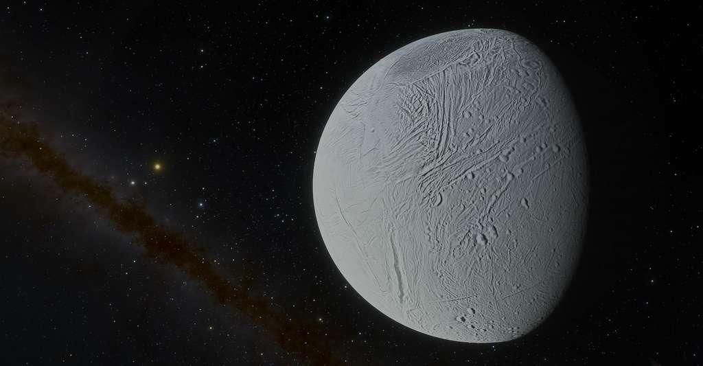 Des processus géochimiques susceptibles d'offrir à la vie un environnement propice à son développement pourraient se jouer sous la glace d'Encelade, la lune glacée de Saturne. Dans des lacs semblables à ceux découverts dans le sous-sol de Mars. © Tyler Hulett, Adoba Stock