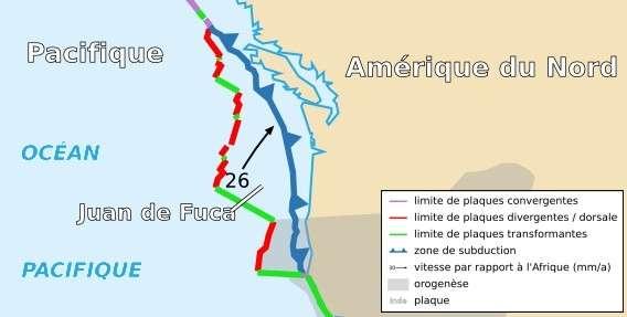 La plaque Juan de Fuca est l'une des plus étudiées au monde. Au niveau de la dorsale (en rouge), cette plaque est en contact avec la plaque Pacifique. Elle plonge au niveaux de la fosse des Cascades, c'est la zone de subduction (en bleu). © Sting and Rémih, cc by sa 2.5, Wikipédia