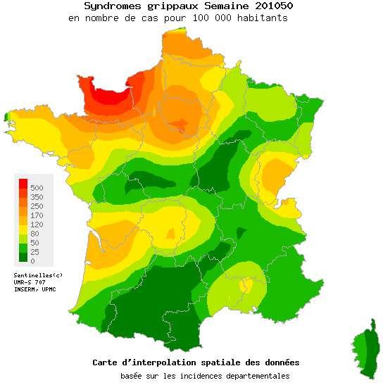 Le Réseau sentinelles établit chaque semaine une carte représentant les cas de symptômes grippaux par 100.000 habitants. © Réseau sentinelles
