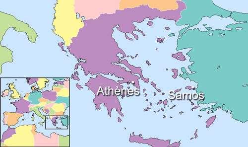 Carte situant Samos