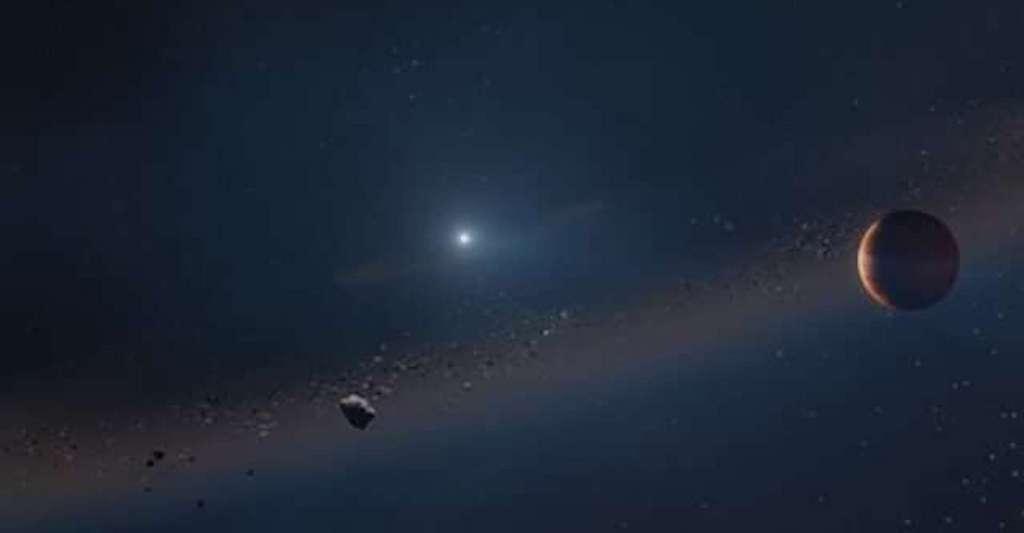Une exoplanète de type Jupiter nouvellement découverte est en orbite autour d'une naine blanche, une étoile morte. Pour les astronomes, le système ressemble à ce que sera notre Système solaire quand notre Soleil aura rendu son dernier souffle. © Adam Makarenko, Observatoire W. M. Keck