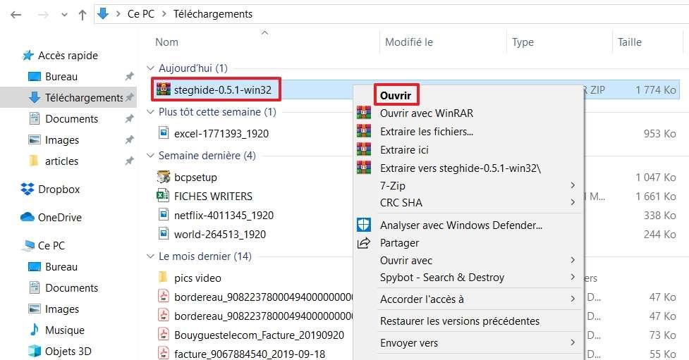 Commencez la procédure d'extraction. © Microsoft