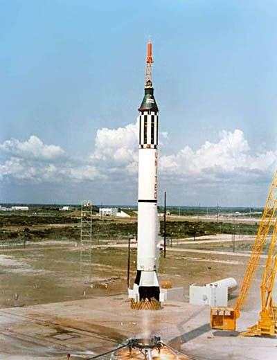 Décollage de la fusée Redstone de Shepard. Crédit Nasa