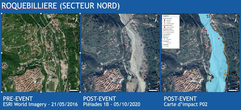 La situation avant/après la tempête Alex dans la ville de Roquebillière. © Images pré-catastrophe (Esri World Imagery - 2016), images post-catastrophe (Pléiades, CNES 2020, distribution Airbus DS), images post-catastrophe au format carte (Sertit 2020)