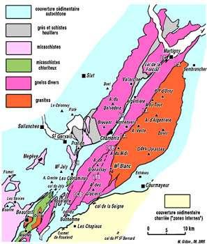 Cliquez pour agrandir - Carte géologique simplifiée du massif