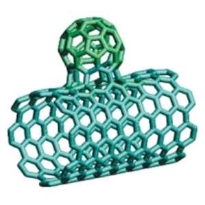 Cette structure appelée nanobud est une hybridation entre un nanotube de carbone et un fullerène. Incorporés à un film transparent, ces nanobuds assurent une conductivité optimale entre eux grâce à cette forme spécifique. Grâce à ce procédé, la start-up finlandaise Canatu a pu concevoir un film transparent et étirable jusqu'à 120% de sa taille. Celui-ci peut rendre tactile n'importe quelle surface. © Arkady Krasheninnikov CC BY-SA 3.0