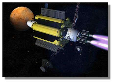 Le moteur magnétoplasmique « VASIMR », proposé et développé par l'astronaute et physicien F. Chang-Diaz, est un des concepts les plus prometteurs pour permettre, un jour, des voyages deux fois plus rapides. Crédits : NASA