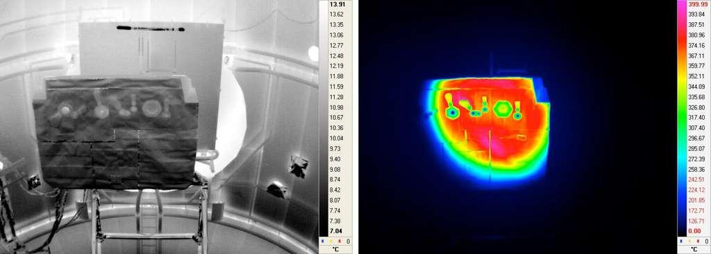 Test du bouclier thermique de la sonde Solar Orbiter. Pour une fois, ce n'est pas un test d'un modèle de vol qui a servi à valider la conception et les choix technologiques mais un modèle d'ingénierie. © Esa