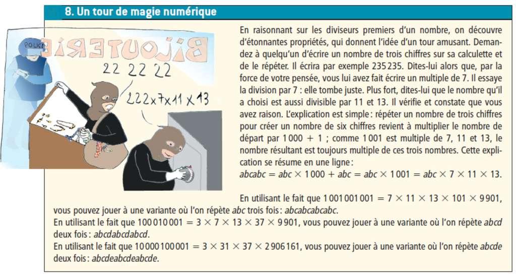 Certains nombres premiers remarquables permettent de réaliser des tours amusants sans difficulté. © Belin
