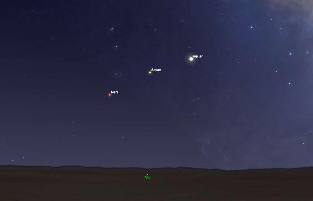 Bel alignement à ne pas manquer de Mars, Saturne et Jupiter, le 10 avril en fin de nuit. © SkySafari