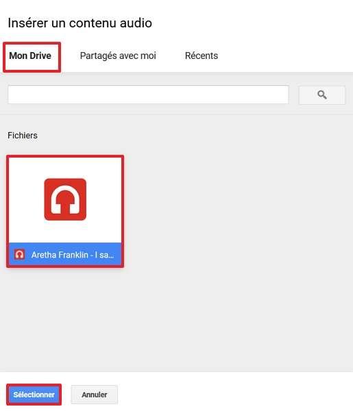 Cliquez sur le morceau que vous désirez incorporer, puis sur « Sélectionner ». © Google Inc.