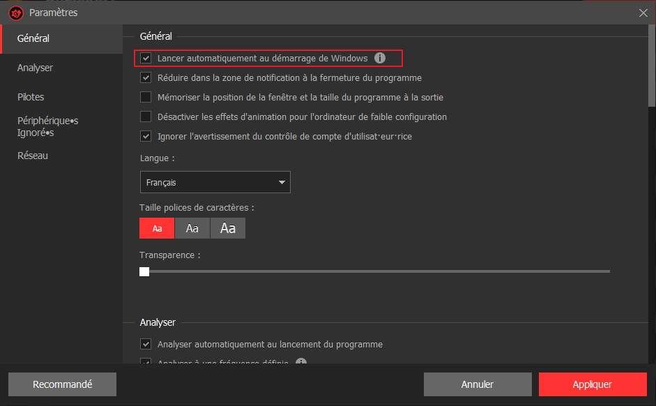 Vous pouvez choisir que Driver Booster Free effectue une analyse automatiquement quand vous allumez votre PC. © Iobit