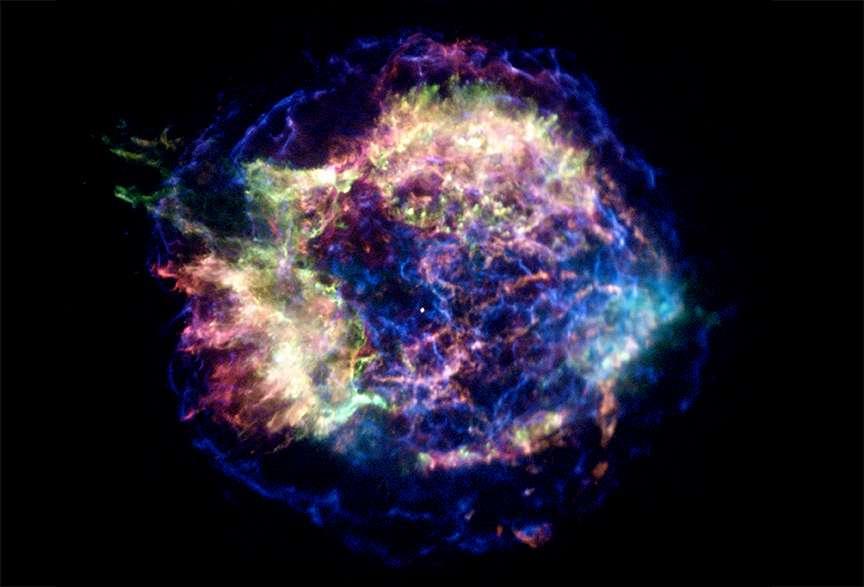 Cassiopée A observée dans le domaine des rayons X. © Nasa/CXC/UNAM/Ioffe/D.Page, P.Shternin et al.