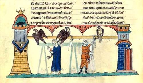 Dressage des faucons pour la chasse au Moyen Âge. © BNF, reproduction et utilisation interdites