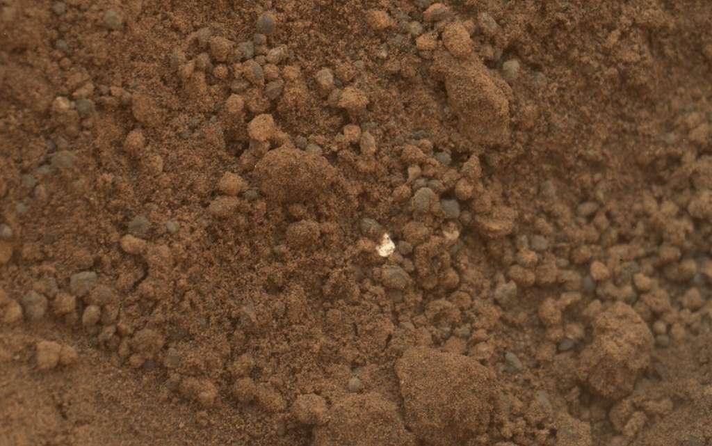 Un objet brillant dans le sol martien
