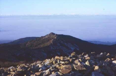 L'amont d'un chirat. Sur le sommet apparaissent des amoncellements de blocs sur la convexité sommitale. Pas d'organisation, visible, les blocs sont entassés en tous sens. On notera l'absence de corniche ici. Massif des Trois Dents (1350 m). Sous la mer de nuage, la vallée du Rhône au pied des Alpes. (Cl . B.E. janv. 1984).