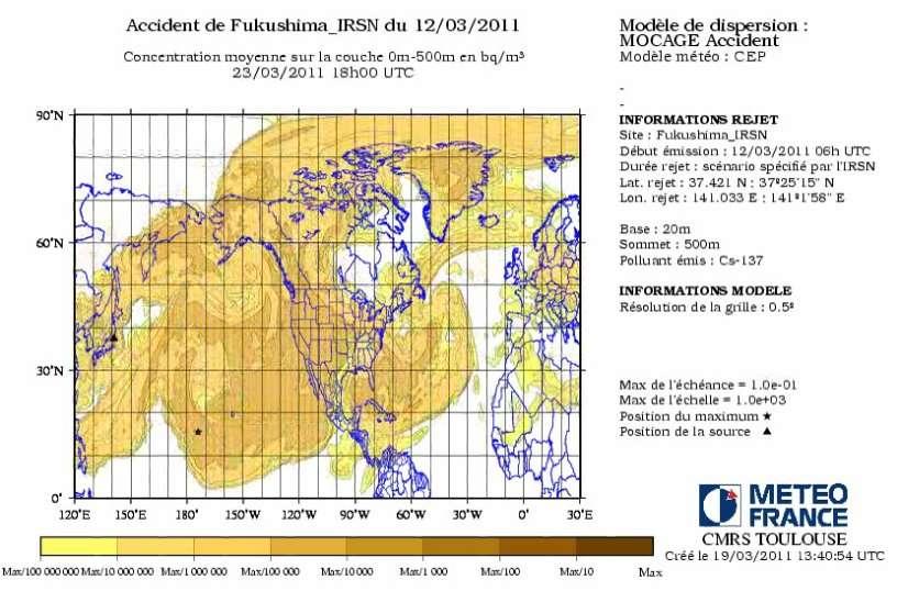 La simulation, réalisée par l'IRSN, de la dispersion du panache radioactif depuis la première explosion du 12 mars à la centrale nucléaire de Fukushima 1 (Daiishi). Elle tient compte de toutes les fuites constatées depuis la première explosion et s'appuie sur les modèles et les observations météorologiques. Le panache, qui ne se développe que dans l'hémisphère nord, devrait toucher les côtes européennes dans les prochains jours. Auparavant, il se sera étalé sur toute la largeur du Pacifique, de l'Amérique du Nord puis de l'Atlantique. Les concentrations du panache resteront très faibles. En revanche, si les vents se mettent à souffler du nord, les populations au sud de la centrale seront directement exposées. © IRSN