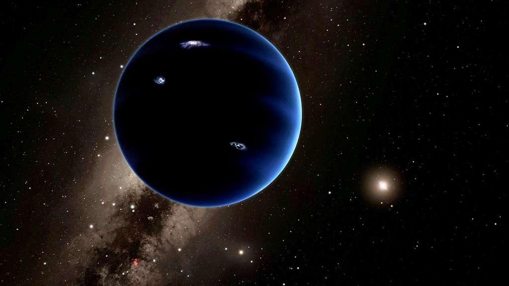 Une vue d'artiste de la neuvième planète qui existe peut-être à plus de 200 fois la distance de la Terre au Soleil, loin au-delà de l'orbite de Pluton. Sa masse est estimée à environ 10 fois celle de la Terre. Elle devrait, logiquement, être enveloppée par une épaisse atmosphère d'hydrogène et d'hélium qui la ferait ressembler à Neptune. © Caltech, R. Hurt (IPAC)