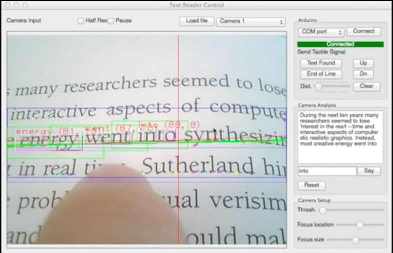 Le logiciel open source de la bague FingerReader combine un algorithme d'extraction de texte, un pilote de contrôle ainsi qu'une couche d'interfaçage avec les logiciels de reconnaissance de caractère (Tesseract) et de synthèse vocale (moteur d'exécution Flite). Sa vitesse d'exécution est d'environ 20 millisecondes par mot analysé. © Media Lab, MIT