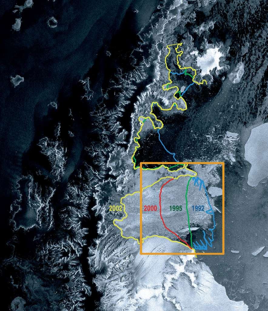 Une des premières photographies prises par Envisat après sa mise en orbite en 2002. La position relative de la plateforme Larsen B avait été étudiée auparavant par les satellites ERS-1 et ERS-2. Entre 1992 (ligne bleue) et 2002 (ligne jaune), la glace avait déjà reculé d'environ 100 km. © Esa