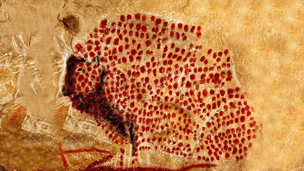Le bison de la grotte de Marsoulas a le corps criblé d'au moins 500 ponctuations rouges exécutées avec le pouce, une œuvre singulière dans l'art pariétal. © Dunod, tous droits réservés