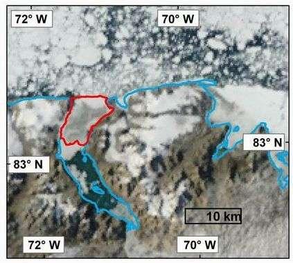 En rouge, le plateau de Markham, encore intact fin juillet 2008. Crédit Radarsat