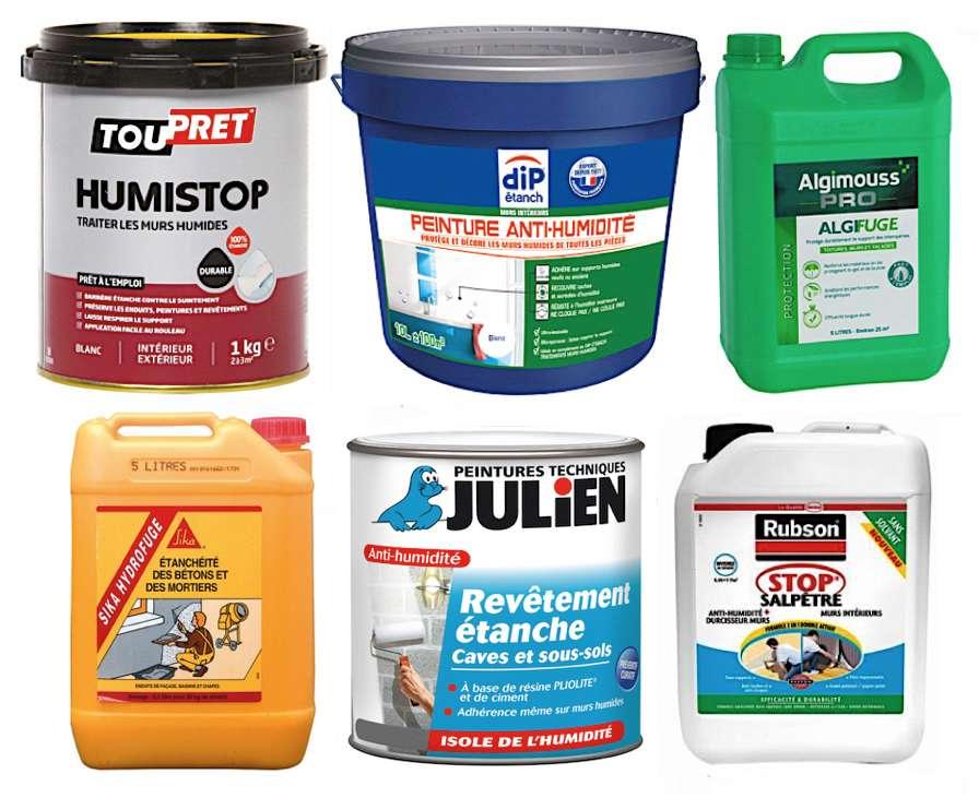 Différents produits liquides ou pâteux permettent d'éliminer les effets visibles de l'humidité ou de prévenir leur apparition. L'application peut, selon les cas, s'effectuer localement ou sur l'intégralité des surfaces à traiter. © DR
