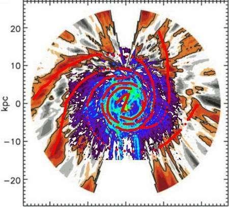 La nouvelle image de la Voie lactée. Les lignes rouges indiquent les bras spiraux. En haut, un point noir entouré de jaune indique la position du Soleil à la pointe d'une zone blanche conique. Crédit : Iowa State University