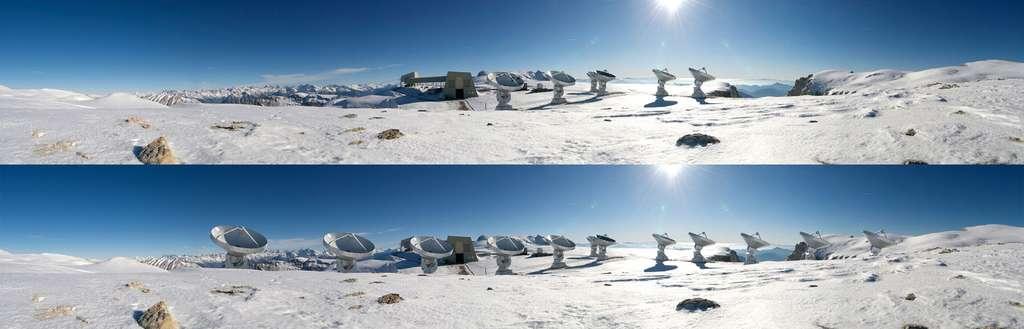 L'interféromètre de l'Iram situé sur le plateau de Bure avec les six antennes actuellement en service (image du haut) et, en bas, le photomontage montrant les 12 antennes du projet Noema. © Iram/Rebus