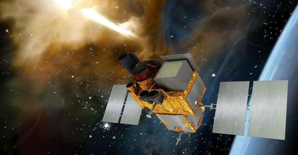 Vue d'artiste du satellite Svom, en cours de développement entre la France et la Chine. © Cnes