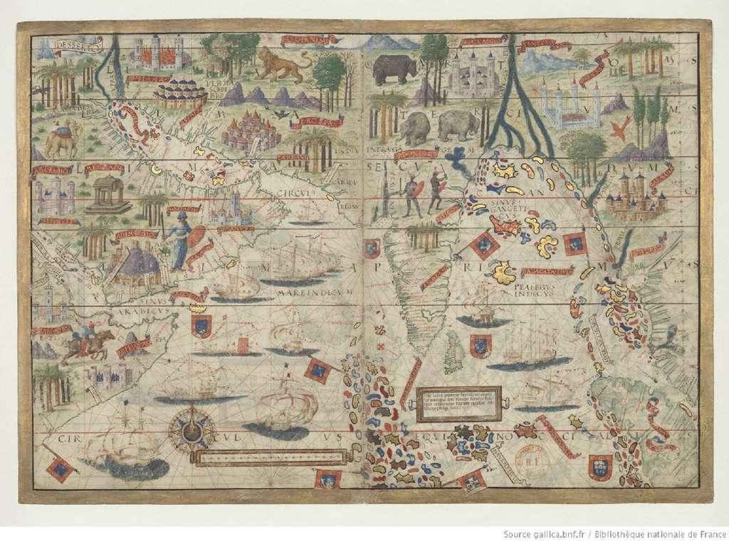 Extrait de l'Atlas nautique du monde connu en 1519, avant le tour du monde de Magellan. Atlas Miller, feuille 3 r°, océan Indien nord avec Arabie et Inde. © Source Gallica, Bibliothèque nationale de France. Domaine public.