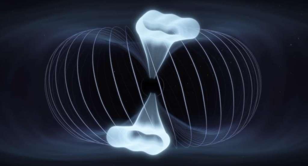 Quand le champ magnétique du Soleil rencontre celui de la Terre, ils s'entremêlent. Poussés vers l'arrière par le vent solaire, ils forment une queue magnétique symétrique. Mais, lorsque le vent solaire présente une orientation est-ouest, le processus peut devenir asymétrique. © American Geophysical Union, YouTube