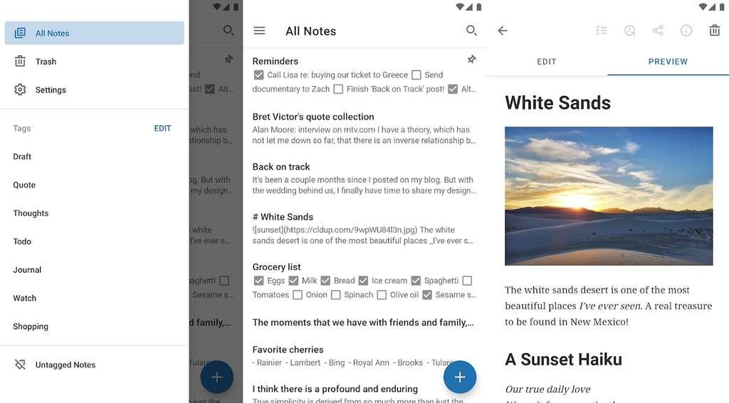 Simple Note n'est pas aussi complet qu'Evernote ou OneNote, mais il propose une interface légère et épurée. © Automattic