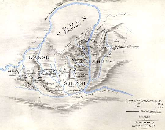 La région de l'Ordos, en Chine, au début du XXe siècle. L'échelle est de 100 miles pour un pouce. © Robert Sterling Clark, Arthur de C. Sowerby, DP