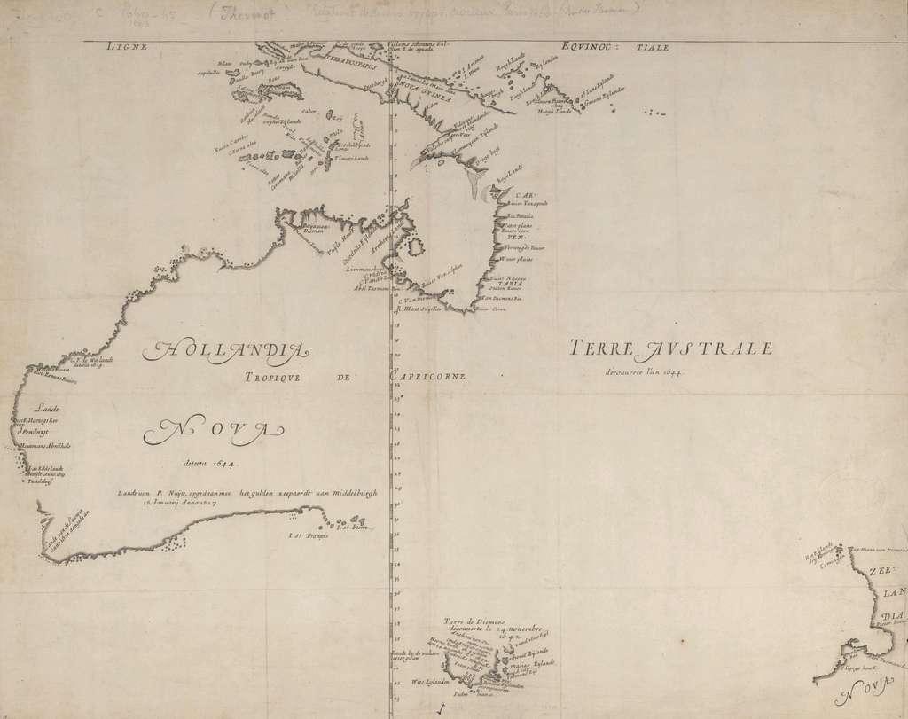 Carte de la «Nouvelle Hollande», parties connues en 1644, avec la «Terre de Diemen» découverte en 1642 par Tasman. Carte dite de Thévenot, imprimée en 1663 à Paris. © Wikimedia Commons, domaine public.