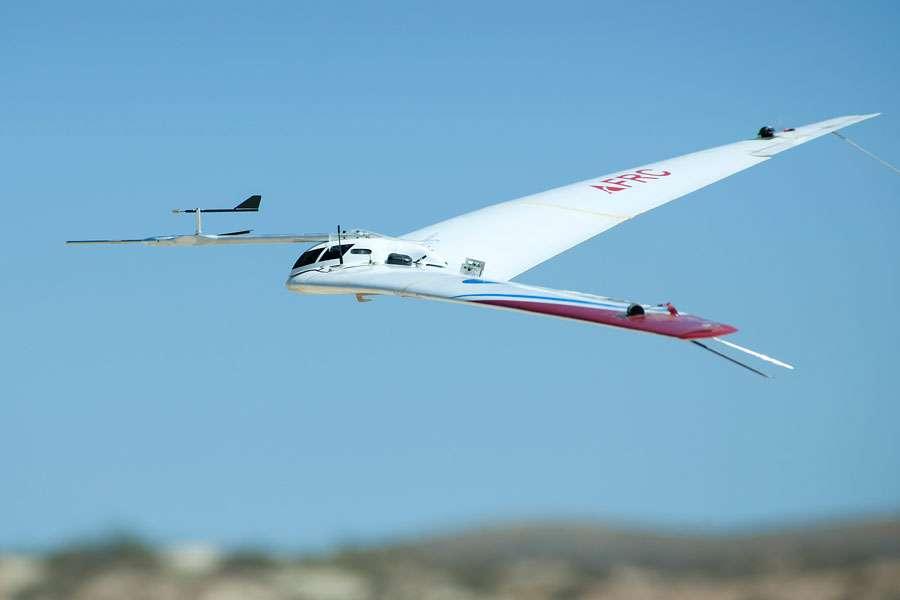 La conception de Prandtl-D intègre les recherches de plusieurs ingénieurs et pionniers de l'aérodynamique, et a résulté en une aile en forme de cloche plutôt qu'elliptique. © Nasa