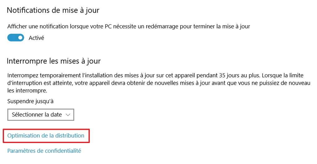 Cherchez les paramètres d'« Optimisation de la distribution ». © Microsoft
