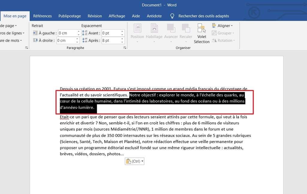 Choisissez la partie du texte à aligner verticalement. © Microsoft