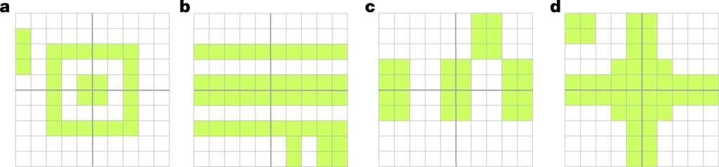Comment rendre ces figures symétriques ? Même s'il est beaucoup plus rapide de supprimer des motifs, la plupart des gens préfèrent en rajouter. © Gabrielle Adams et al., Nature, 2021