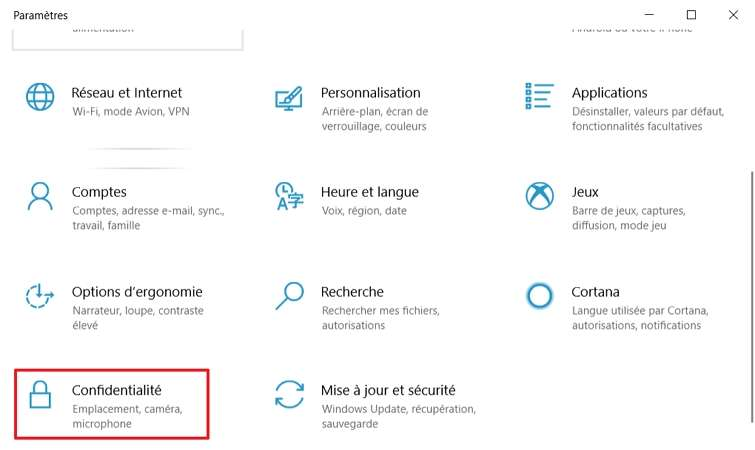 Allez dans les paramètres de confidentialité. © Microsoft