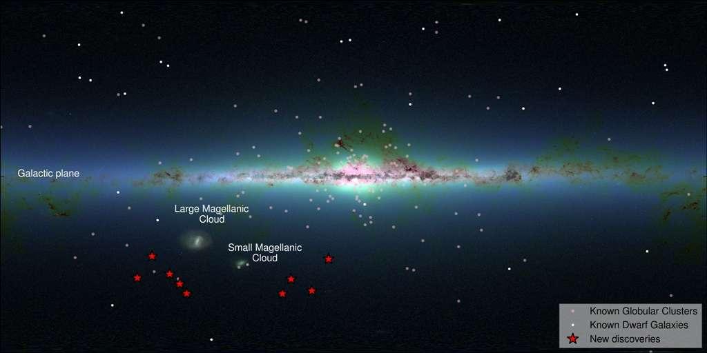 Le DES a découvert neuf objets astronomiques (en rouge sur le schéma). Ils sont voisins des Nuages de Magellan (Magella cloud, en anglais sur le schéma) et certains pourraient n'être que des amas globulaires (globular cluster), d'autres sont des galaxies naines (dwarf galaxy). L'image de fond est la carte infrarouge issue de la campagne d'observation 2MASS. © S. Koposov, V. Belokurov (IoA, Cambridge), 2MASS