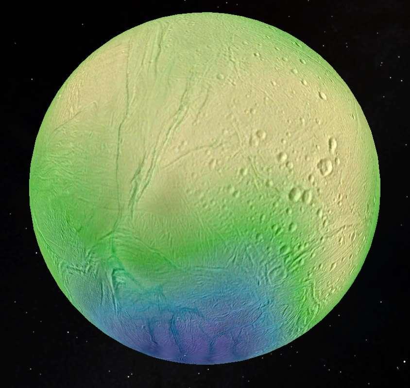Figure en fausses couleurs représentant l'épaisseur de la couche de glace d'Encelade, atteignant 35 kilomètres dans les zones équatoriales cratérisées (couleur jaune) et moins de 5 kilomètres au niveau de la zone active du pôle sud (couleur bleu), où se trouvent des fractures de grandes tailles, grossièrement parallèles, les « rayures du tigre », visibles sur cette image, en bas. © LPG, CNRS, université de Nantes, université Charles de Prague