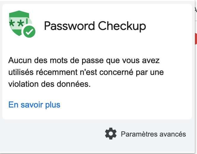 L'extension prend la forme d'une icône près de la barre d'adresse, et elle vous informe si vos identifiants et mots de passe ont été piratés, ou pas. © Google