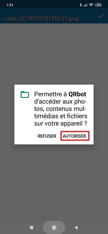 Accordez l'autorisation à QRbot d'accéder à certains fichiers. © TeaCapps GmbH