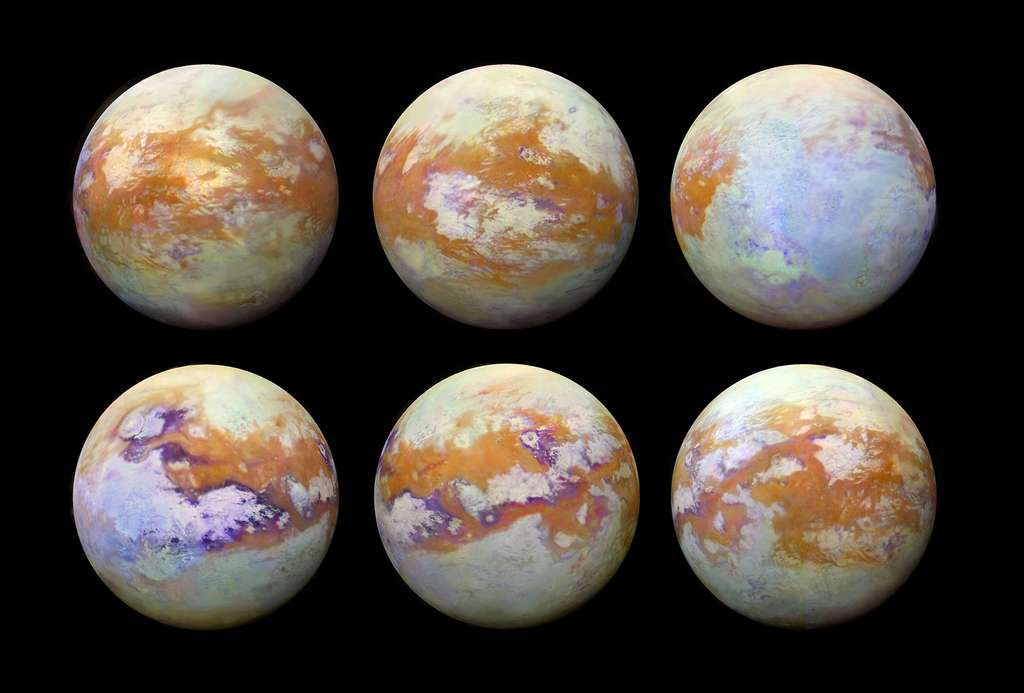 Six images montrant en fausses couleurs la surface de Titan en infrarouge. © Nasa, ESA