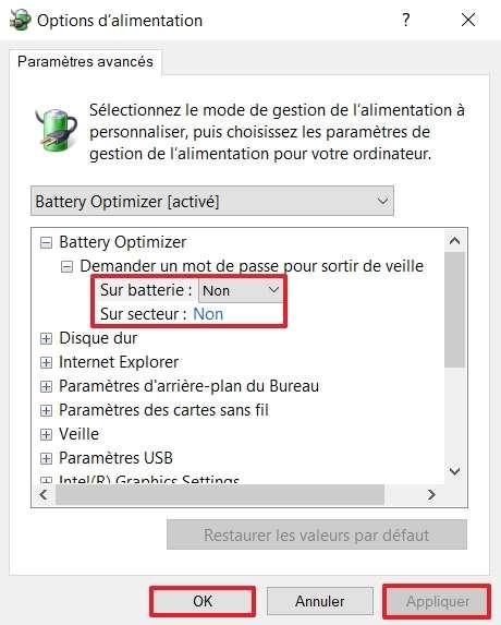 Optez pour « Non » dans les menus déroulants « Sur batterie » et « Sur secteur ». © Winaero