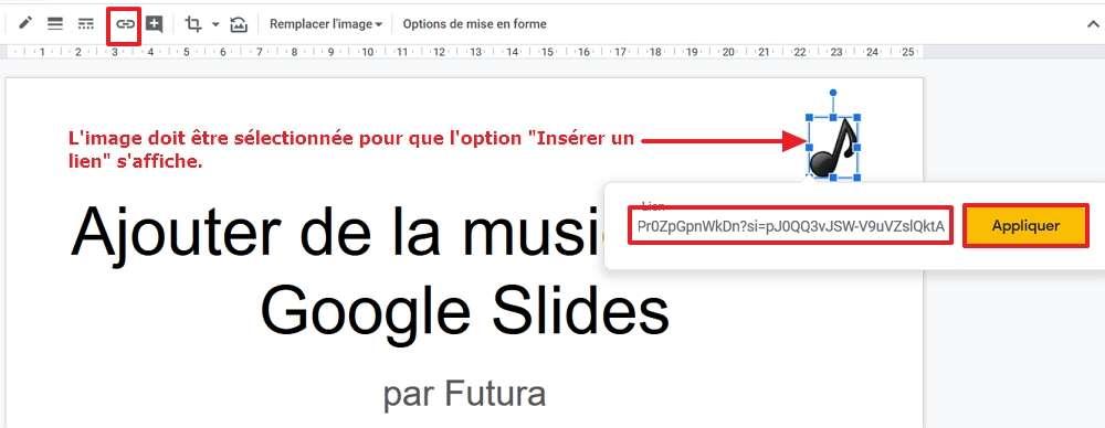 Collez le lien que vous avez copié dans votre presse-papier et cliquez sur « Appliquer ». © Google Inc.